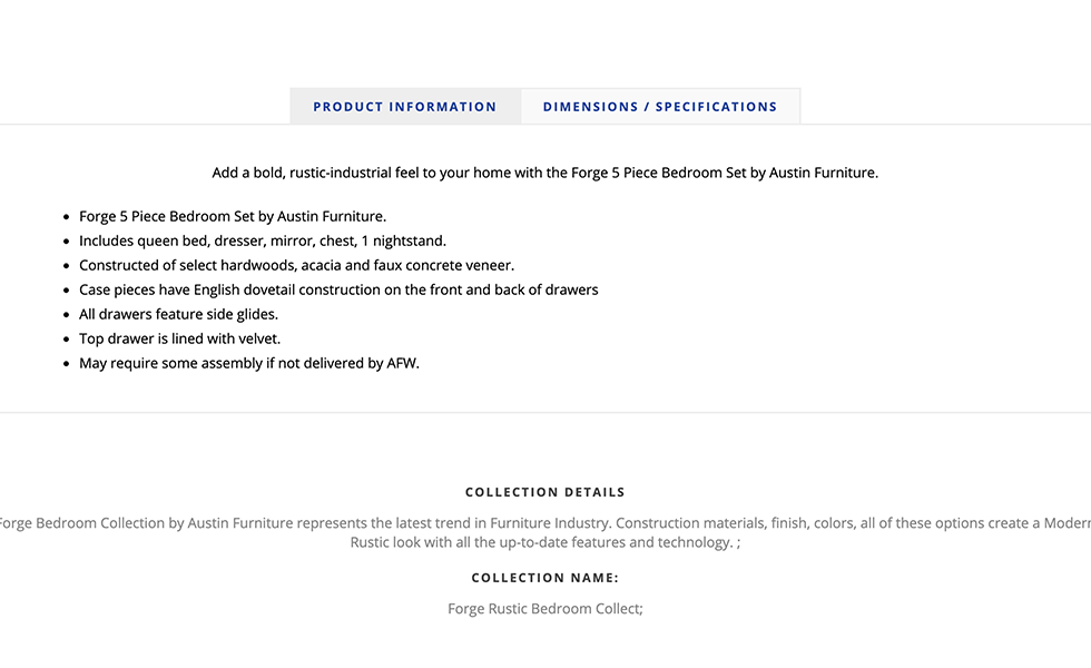 Screenshot of American Furniture Warehouse website showing product information