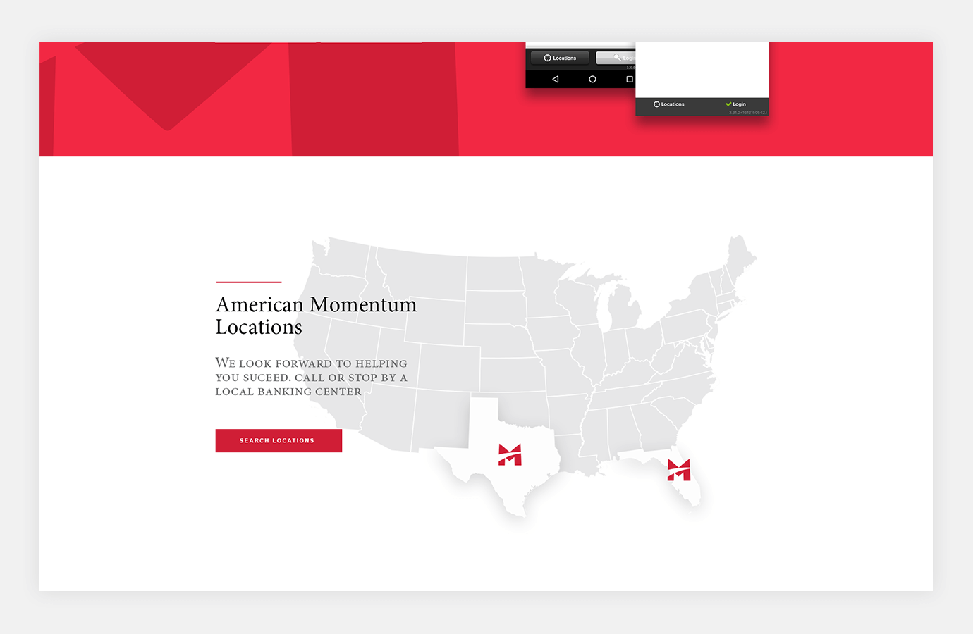 Screenshot of American Momentum Bank website showing bank locations on the U.S. map