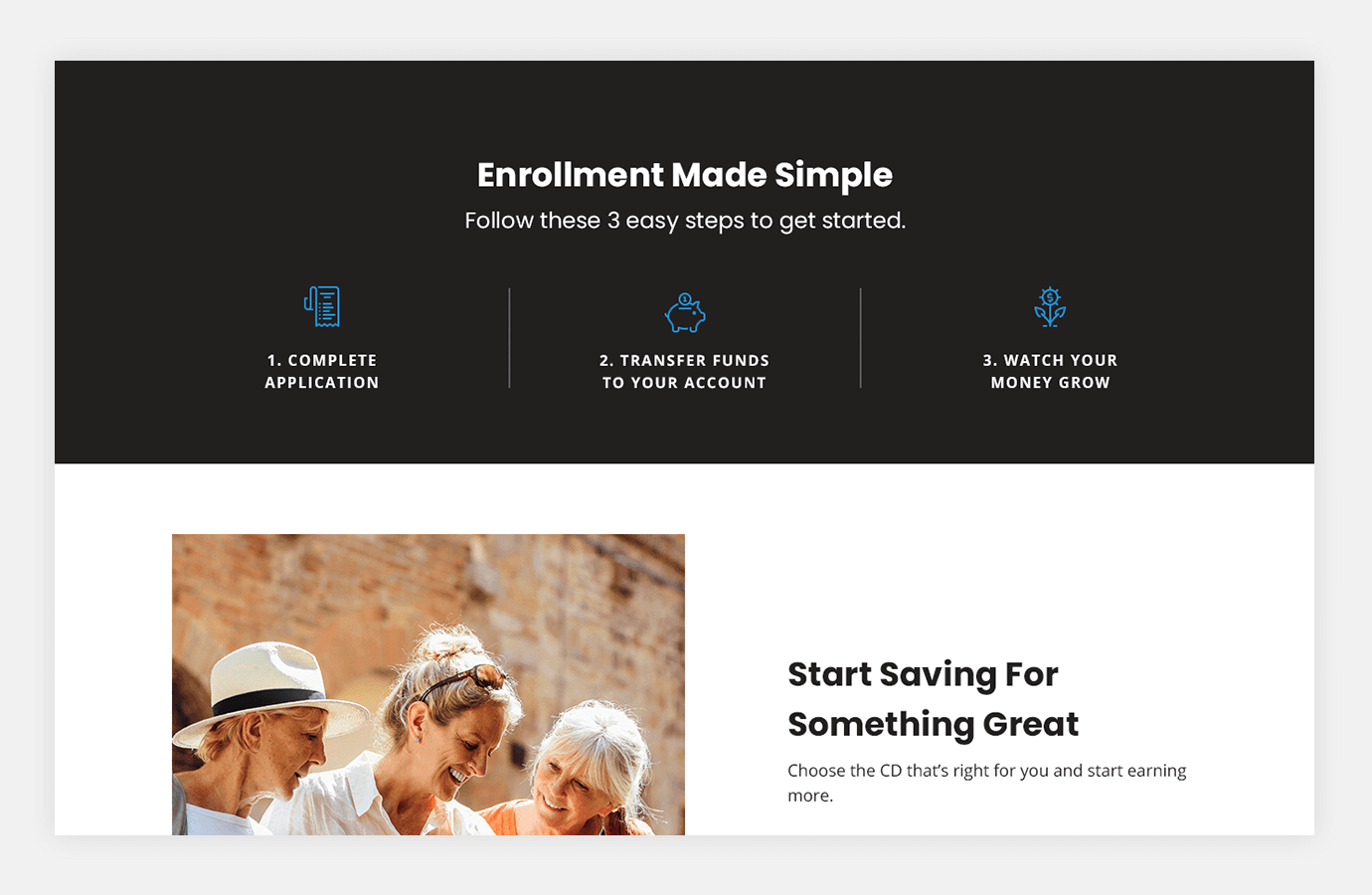 Screenshot of BankUnited Direct website showing three easy steps to enroll