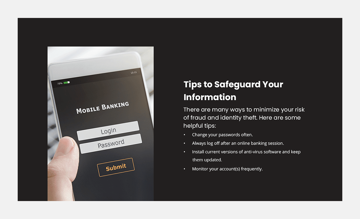 Screenshot of BankUnited Direct website showing tips to safeguard your information