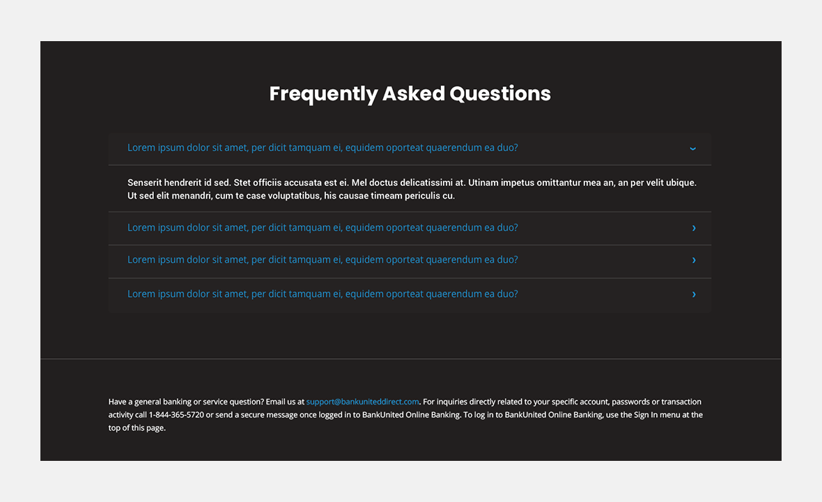 Screenshot of BankUnited Direct website frequently asked questions page