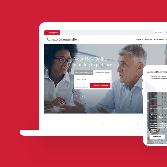 Mockup for American Momentum Bank