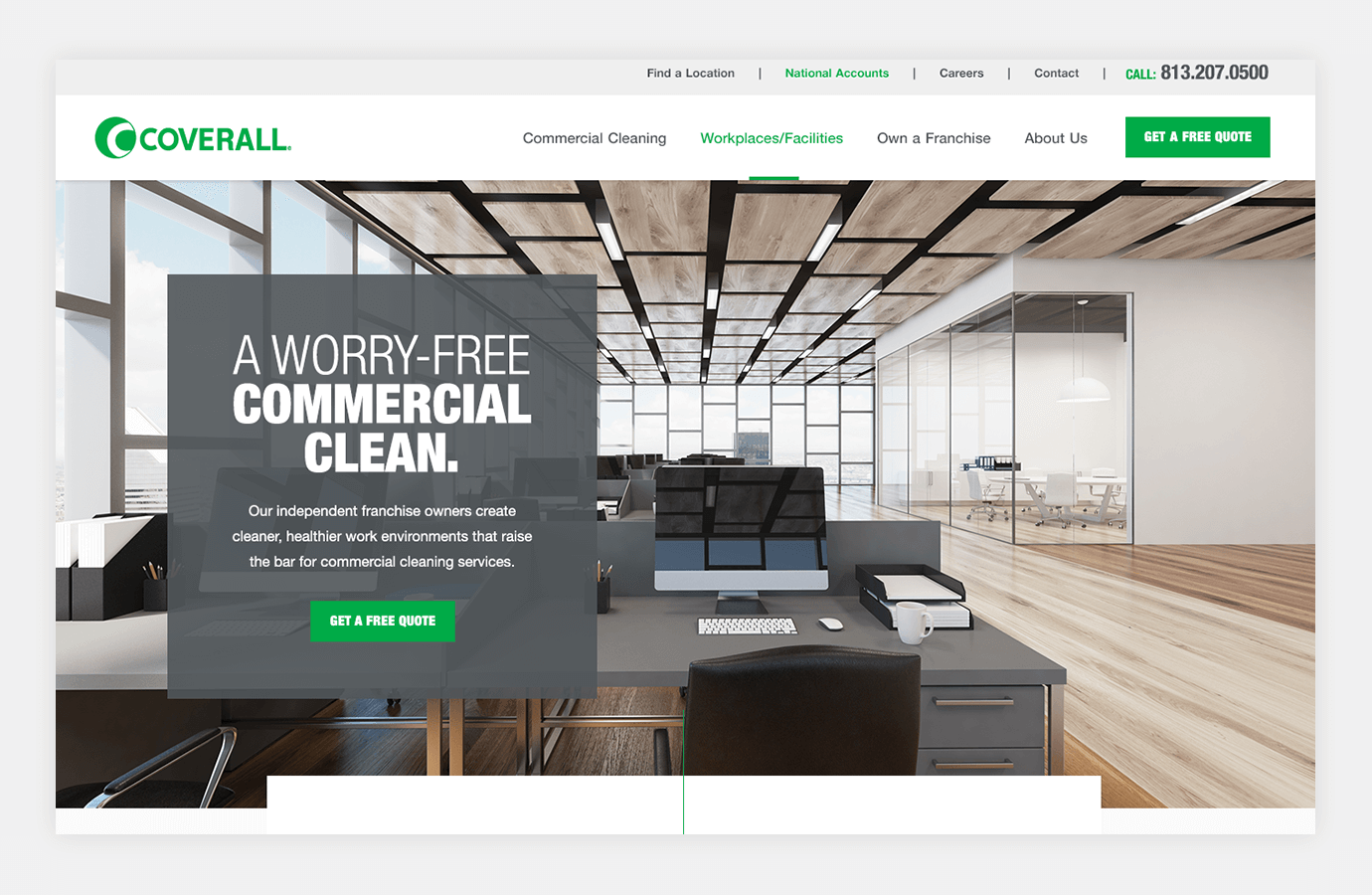 Screenshot of Coverall website homepage