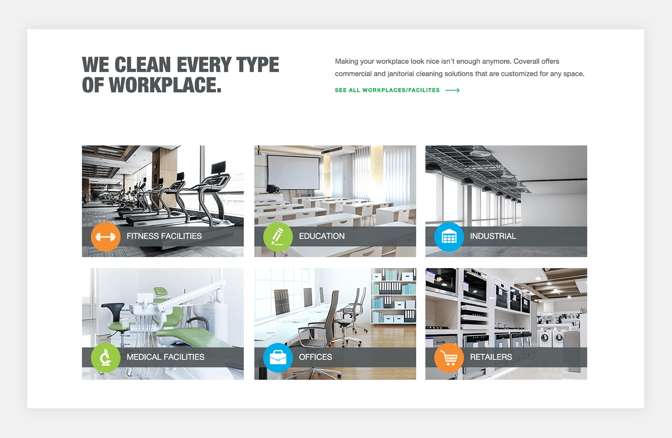 Screenshot of Coverall website showing types of workplaces they clean