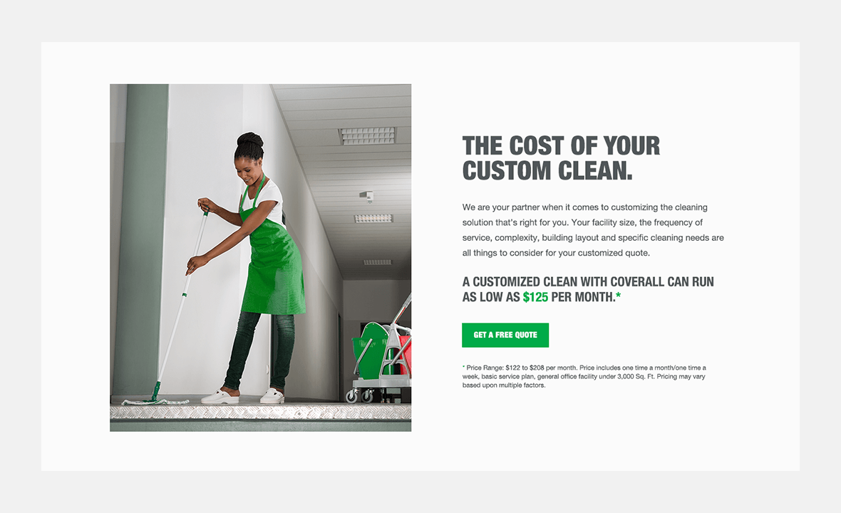 Screenshot of Coverall website showing the cost of commercial cleaning page