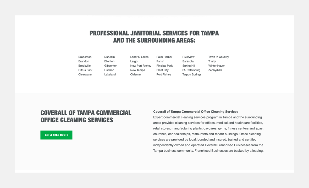 Screenshot of Coverall website showing Tampa area locations