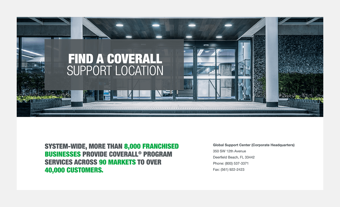 Screenshot of Coverall website showing Coverall support locations