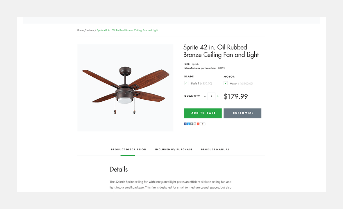 Screenshot of Dan's Fan City website showing bronze ceiling fan product image