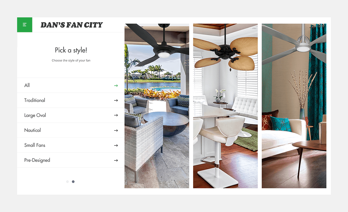 Screenshot of Dan's Fan City website with fan style selector