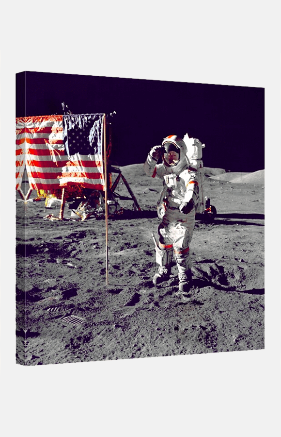 Art print of astronaut in space with American flag