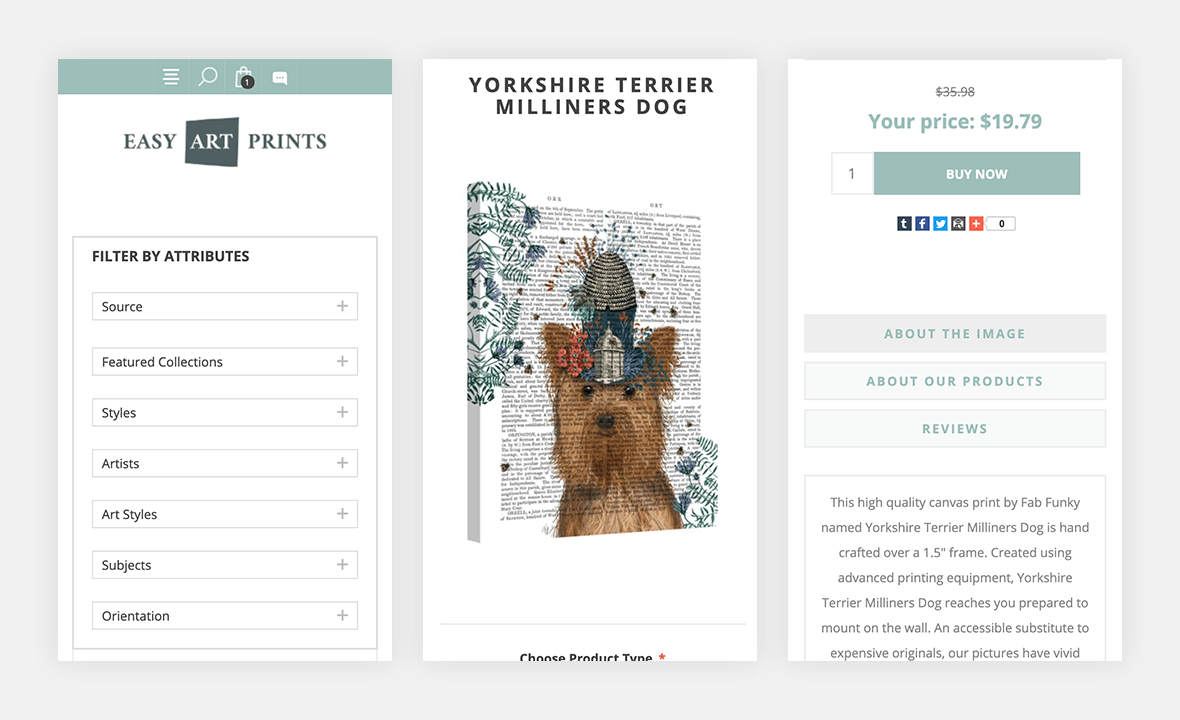Screenshot of Easy Art Prints website check out form