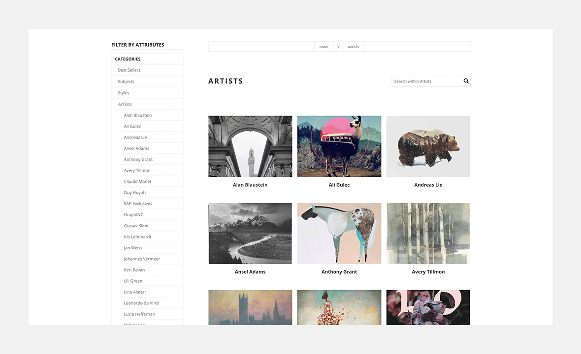 Screenshot of Easy Art Prints website showing list of artists and art print example