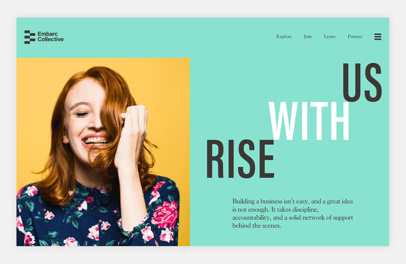 Screenshot of Embarc Collective website showing red headed woman laughing