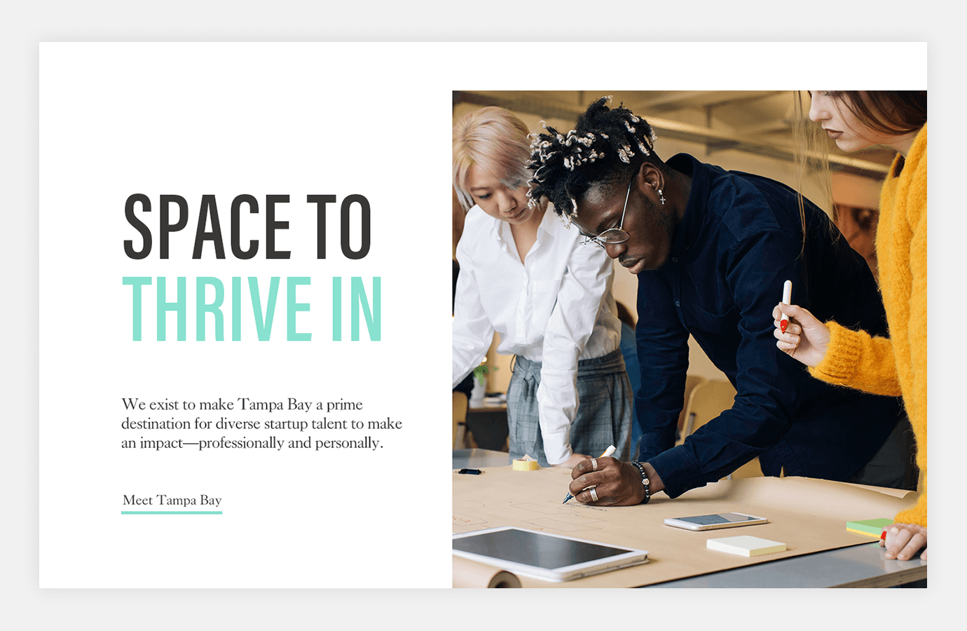 Screenshot of Embarc Collective website showing team members working together