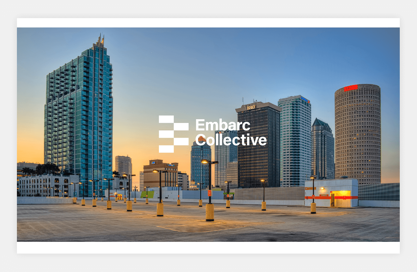 Screenshot of Embarc Collective website showing downtown Tampa skyline