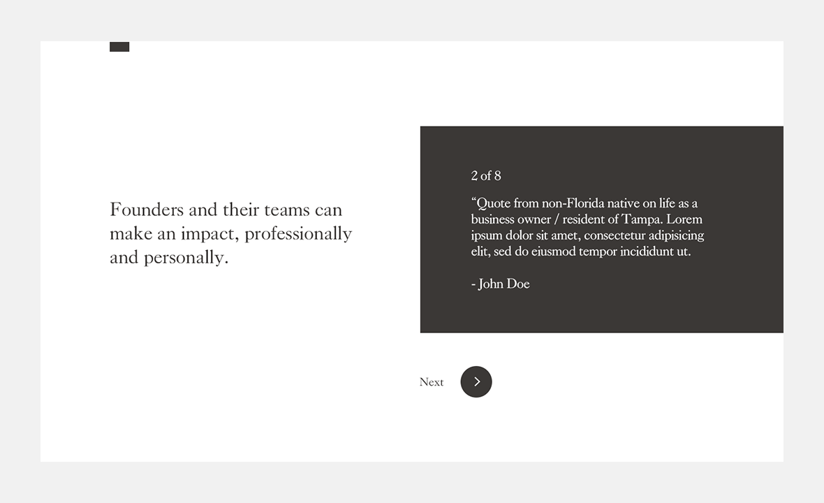 Screenshot of Embarc Collective website showing design of a quote module
