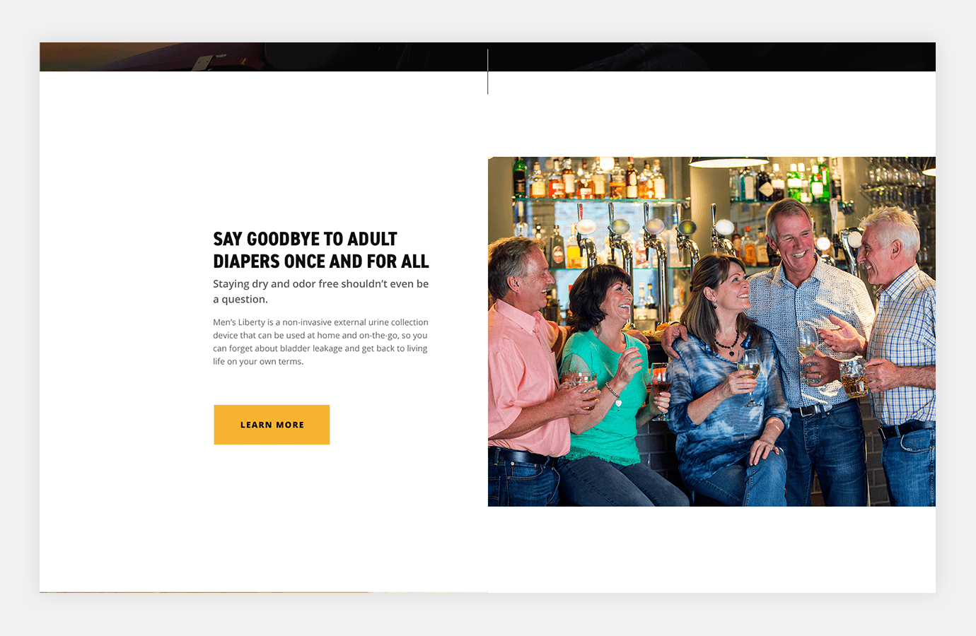 Screenshot of Men's Liberty website showing group of people laughing and drinking together