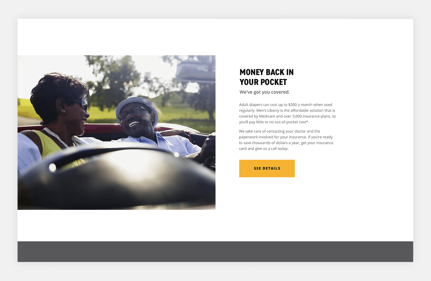Screenshot of Men's Liberty website showing two people driving in car and laughing