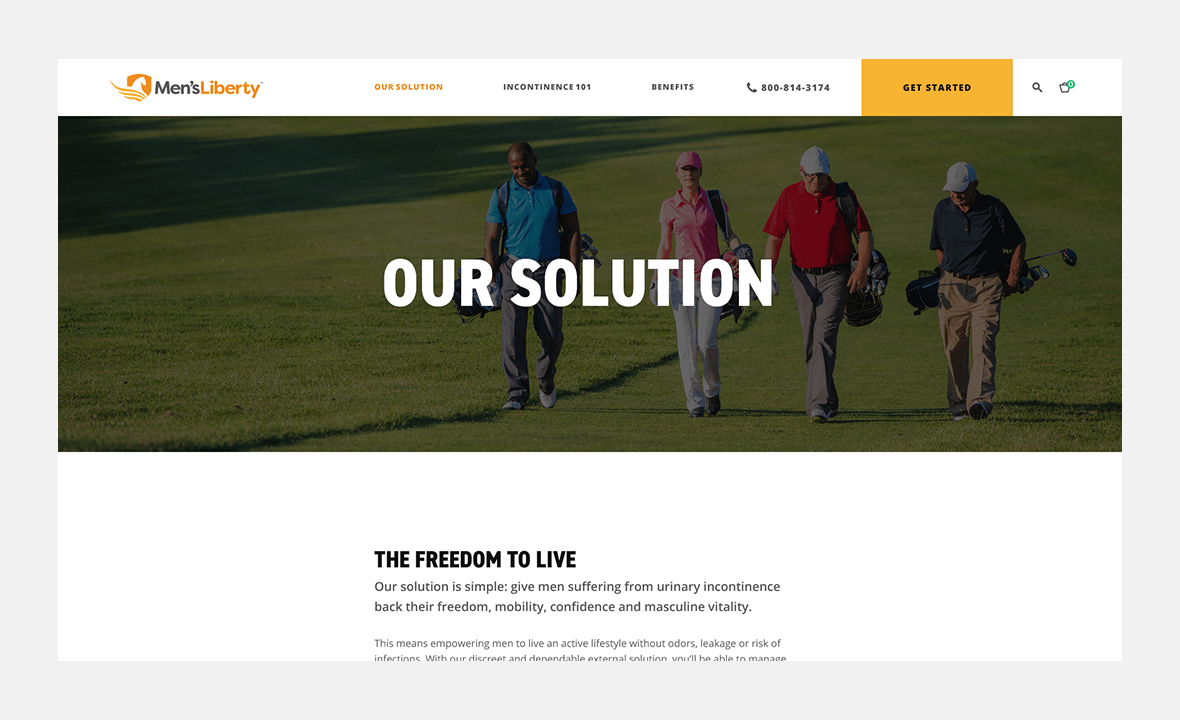 Screenshot of Men's Liberty website Our Solution page