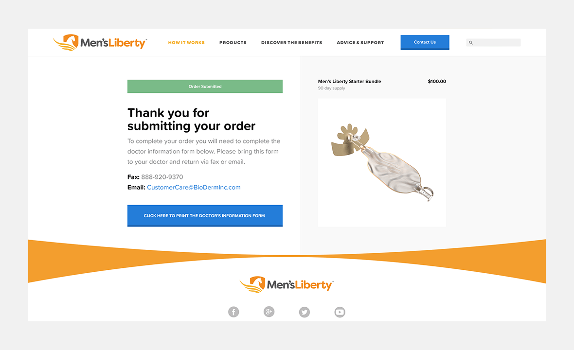 Screenshot of Men's Liberty website showing thank you screen after user purchased product