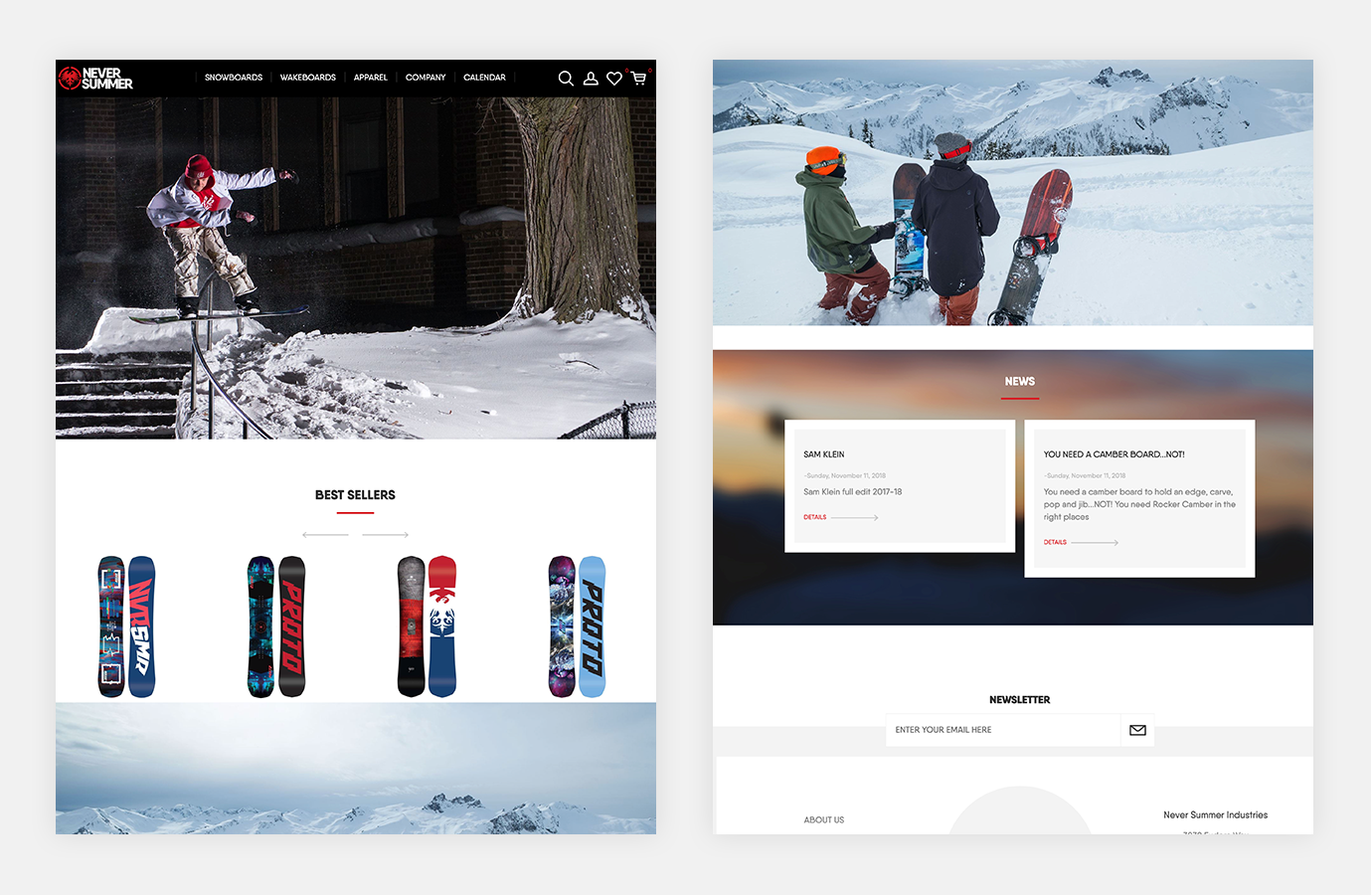 Screenshot of Never Summer website showing best selling snowboards
