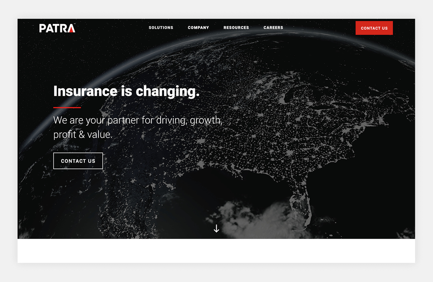 """Screenshot of Patra website homepage showing the globe and headline """"Insurance is changing"""""""