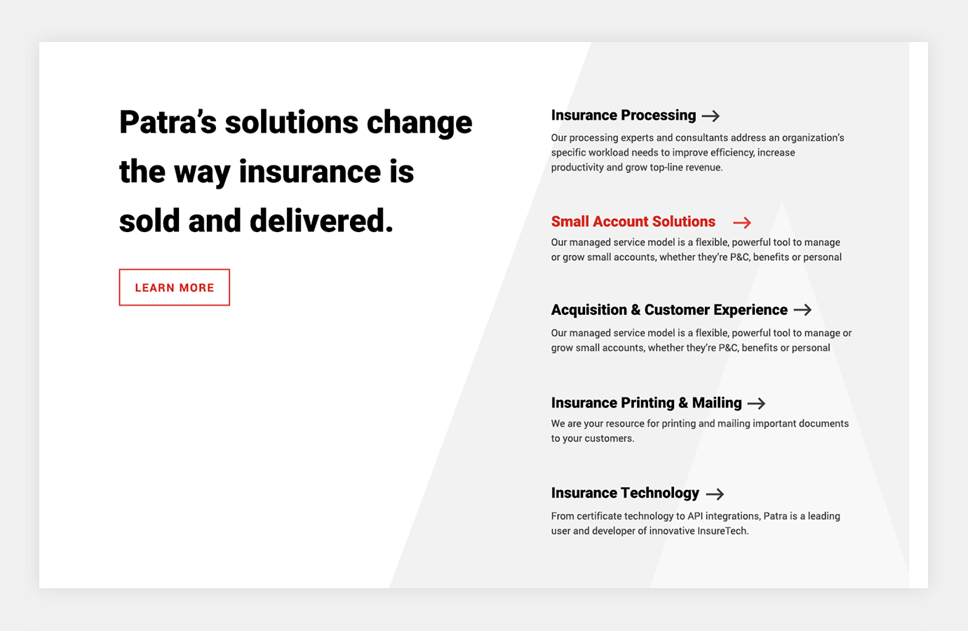 Screenshot of Patra website showing solutions the company offers