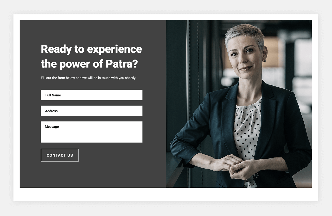 Screenshot of Patra website showing contact us form