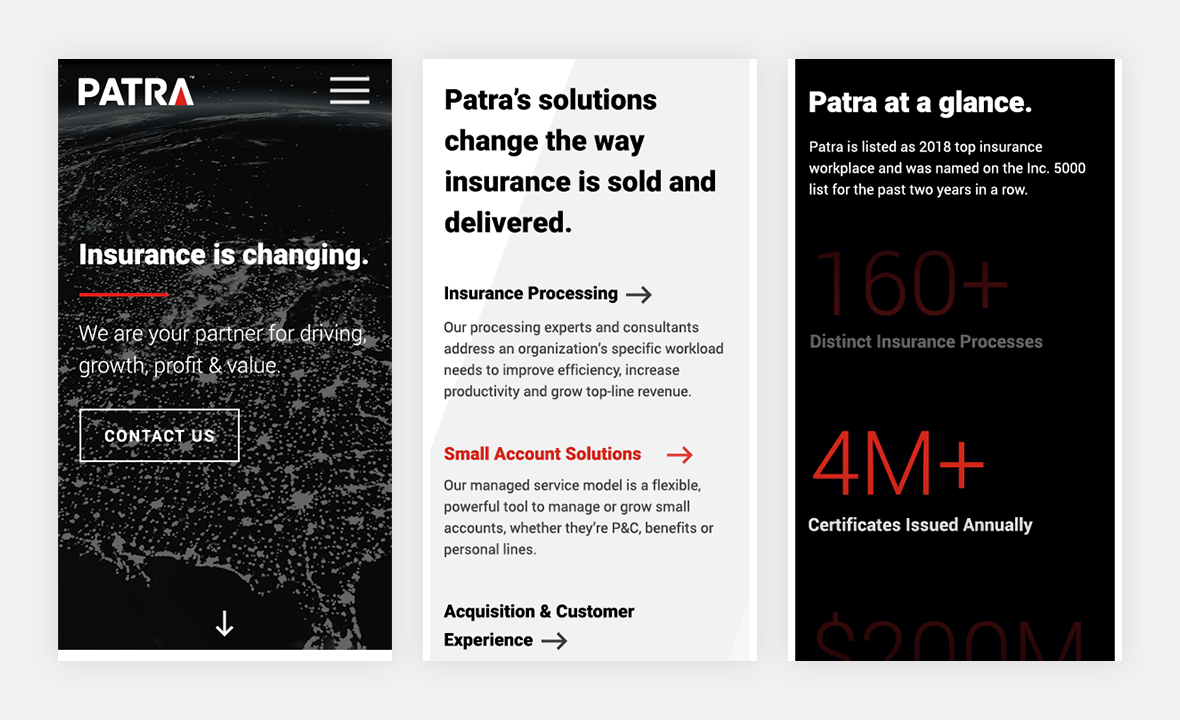 Screenshot of Patra website on phone view to show mobile responsiveness