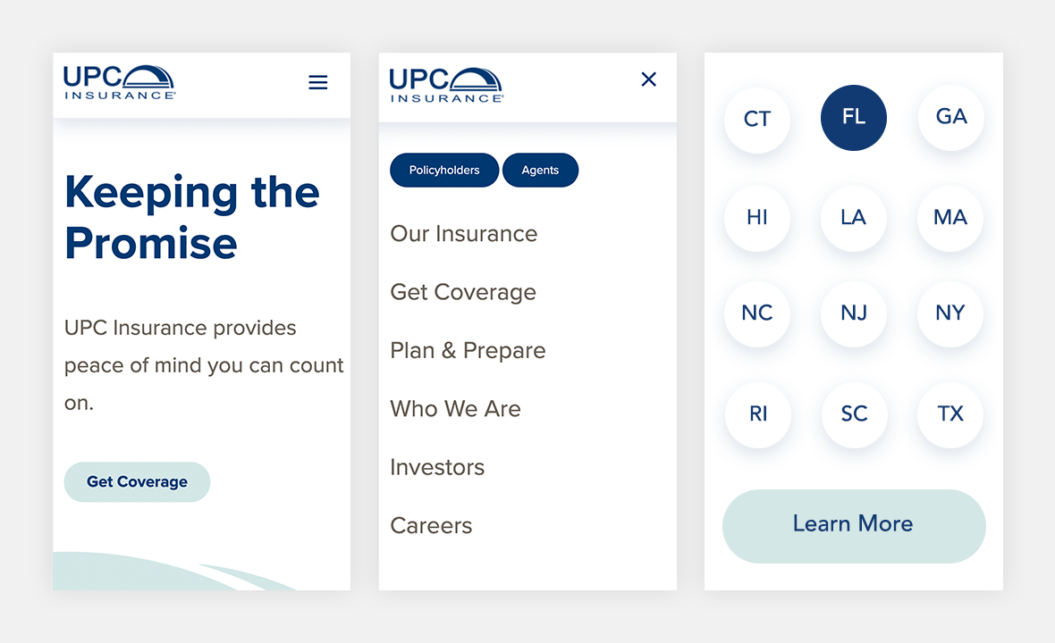 Screenshot of UPC Insurance website on phone view to show mobile responsiveness