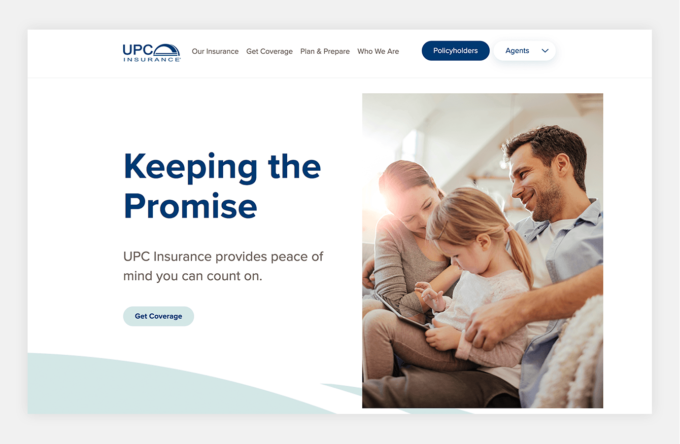 "Screenshot of UPC Insurance website homepage with tagline ""Keeping the Promise"""