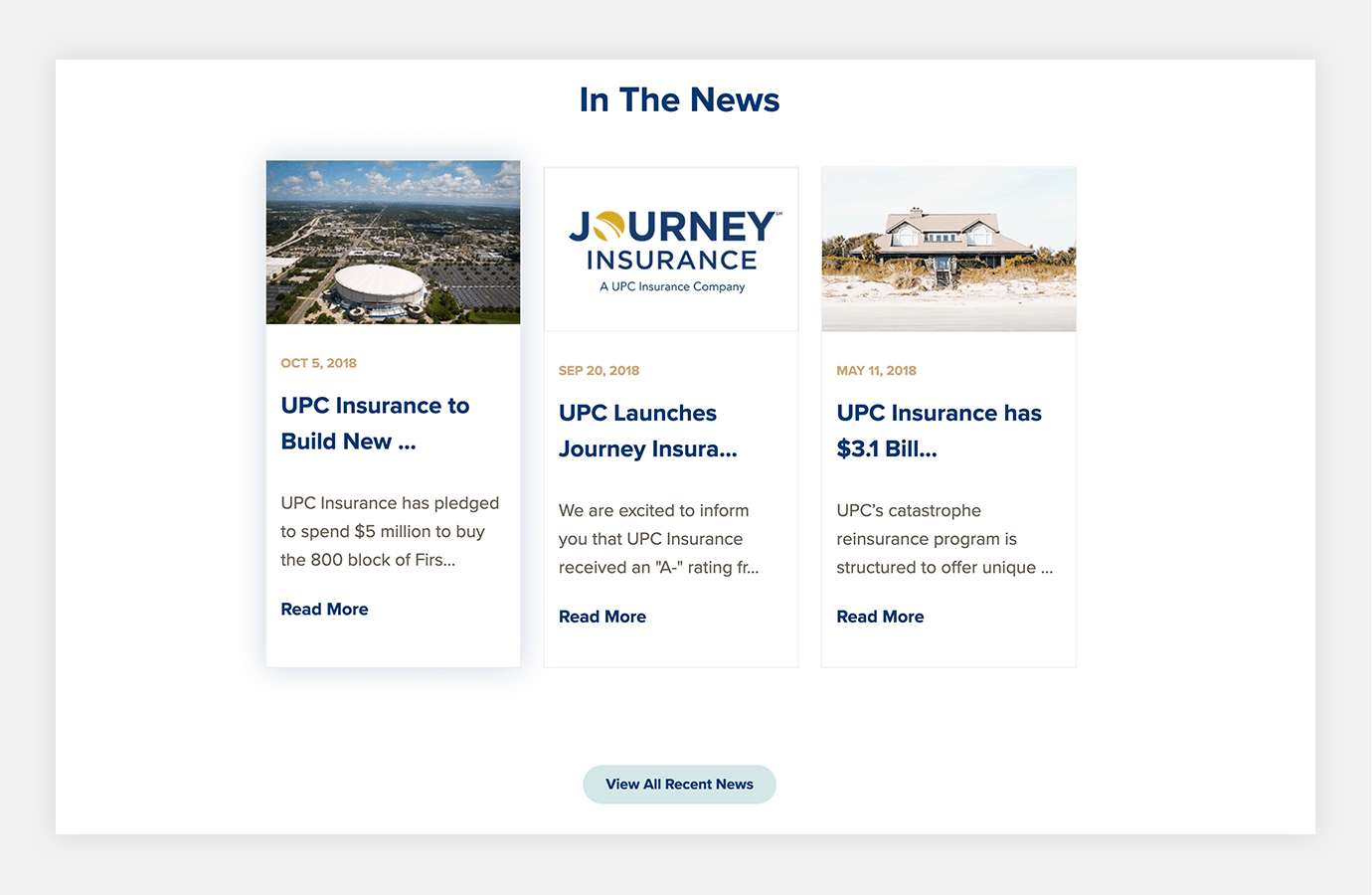 Screenshot of UPC Insurance website showing design module for In the News area