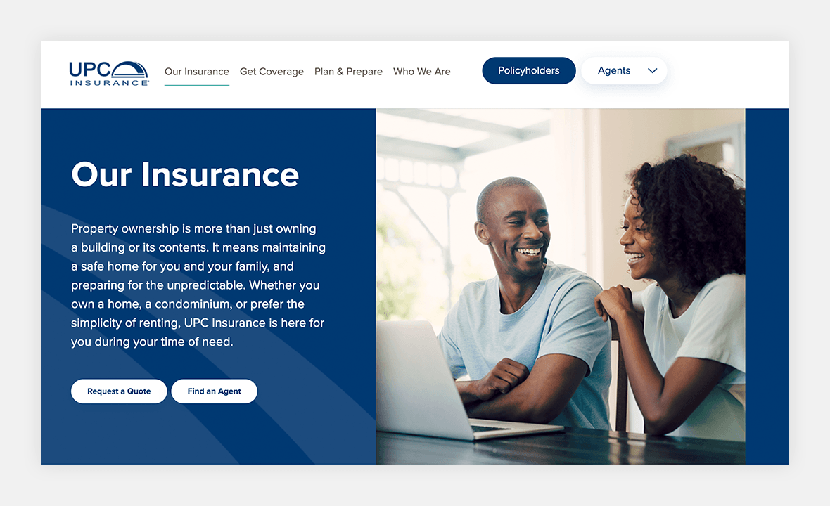 Screenshot of UPC Insurance website showing woman and man laughing while looking at laptop