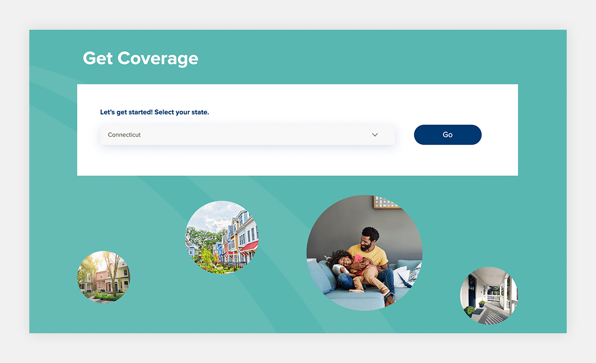Screenshot of UPC Insurance website showing Get Coverage section with state dropdown list